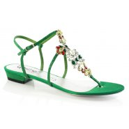 Unze Women Sandals Evening Flat Sandals - Green Suede