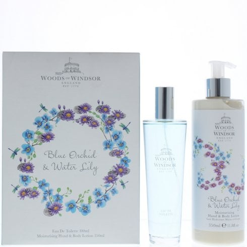 Woods of Windsor Wow Blue Orchid & Water Lily EDT 100ml & Bl 350ml
