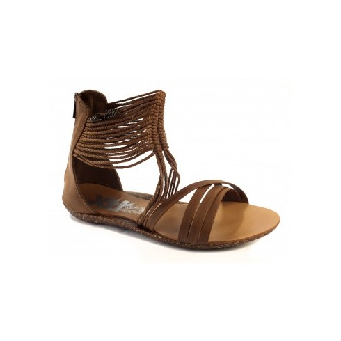 Xti Ladies Flat Sandals - Camel - 25212