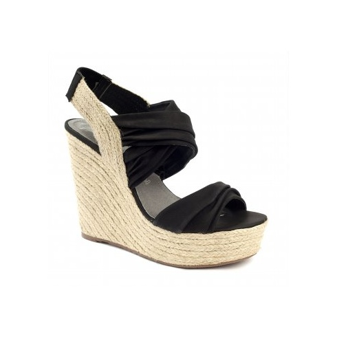 Xti Ladies Slingback Wedge Sandals - Black - 25171
