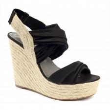 Xti Ladies Slingback Wedge Sandals - Black - 25171
