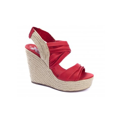 Xti Ladies Slingback Wedge Sandals - Red - 25171