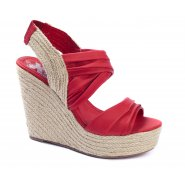 Xti Ladies Slingback Wedge Sandals - Red - 25171